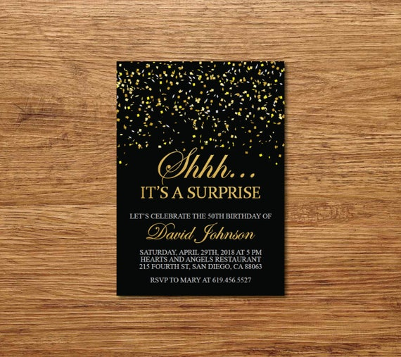 Shhh It's A Surprise Birthday Invitation/Printable Gold