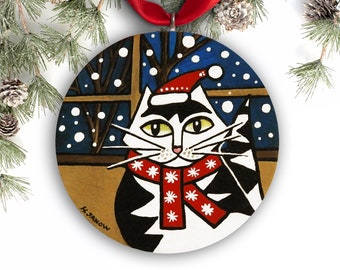 Tuxedo Cat Ornament, Handmade Christmas Ornament, Hand Painted Ornament, Funny Christmas Ornament, Christmas Gift, Pet Lover Gift