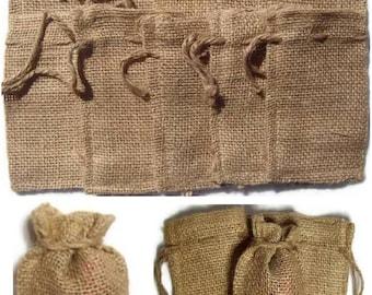 "5 BURLAP BAGS 3"" X 5"" - 7.5cm X 12.5cm Gift Bags Favor Bags Wedding Bridal Decor"