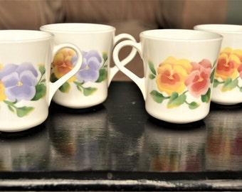 FLORAL CORNING MUGS Set of Four Summer Blush Pansy Corningware Mugs