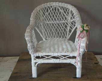White wicker high back chair with arms for dolls / white shabby, cottage chic doll chair / doll, stuffed animal chair / vintage doll chair