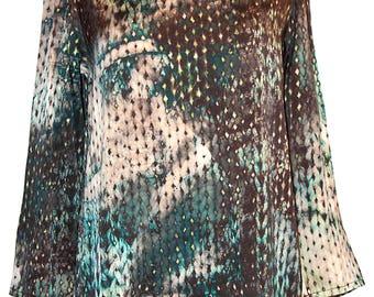 Women's blouse, 100% silk satin size M multicolour