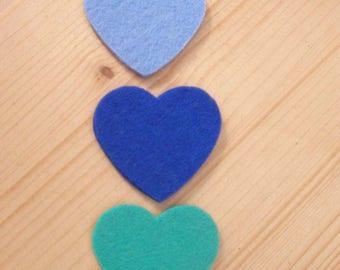 set of 3 hearts felt #5