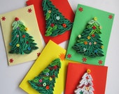 Merry Christmas Card Set, Blank Quilling Christmas Cards, Christmas Tree cards, Holiday Cards, Christmas Greeting