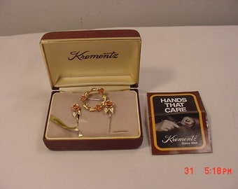 Vintage Krementz Brooch & Screw On Earrings Set In Original Box  18 - 815