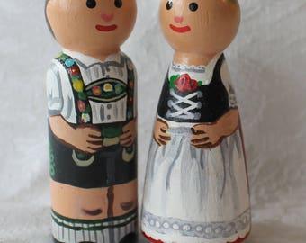 "German Peg Dolls - Set of Two Large 3.5"" size"