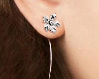 Saintpaulia flower earrings sterling silver earrings jewelry dangle earrings cute small stud earrings long stem earrings Threader E-092