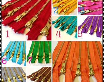 Metal Zippers, Choose Ten 9 inch brass YKK zippers, gold teeth, brown, grey, red, pink, orange, purple, green, turquoise, aqua, blue, black