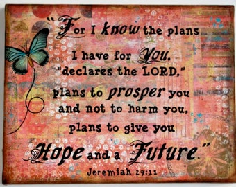 Mixed Media Collage - Print Mounted on Wood - Jeremiah 29:11