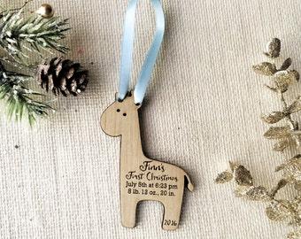 Baby Giraffe Custom Baby's First Christmas Ornament