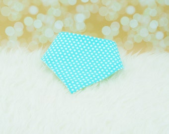 60% OFF SALE! Baby Bandana Bib (Small White Dots on Aqua) ||| bibdana, drool bib, dribble bib, bandana bib sale, baby bibdana, baby shower