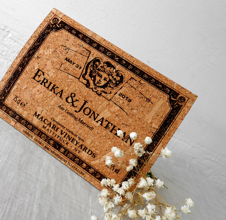 Wedding invitations cork invitations rustic wedding invites