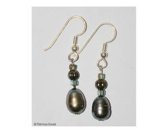 EA37 - Earrings - fresh water pearls, glass beads, sterling wires - one of a kind by Patricia Gould