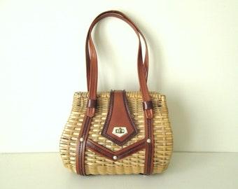woven straw purse, basket handbag, vintage 60s 70s, spring summer bag