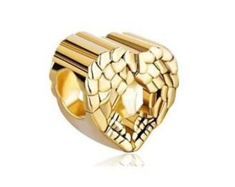 Gold Angel Wings Bead, Heart Bead, European Bead, Large Hole Bead, 4mm hole. Charm Bracelet Bead, Gold Bead, Gold Charm Bead