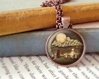 Kids Jewelry, Kids Pendant Necklace, Necklace For Girls, Jewelry for Girls, Bear, Owl, Mouse, Hedgehog, Animals - Dance Party Under The Moon