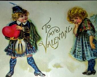 Vintage Children Valentine Postcard