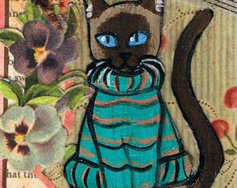 Siamese Cat in a Sweater, Original Mixed Media ACEO, Collage, Art trading Card