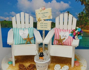 """CUSTOM BEACH SIGN Rustic Wedding Cake Topper Request Your Colors! No Base Fits 6""""Top! Handmade Mr&Mrs Adirondacks/Champagne/Bouquet/More!"""