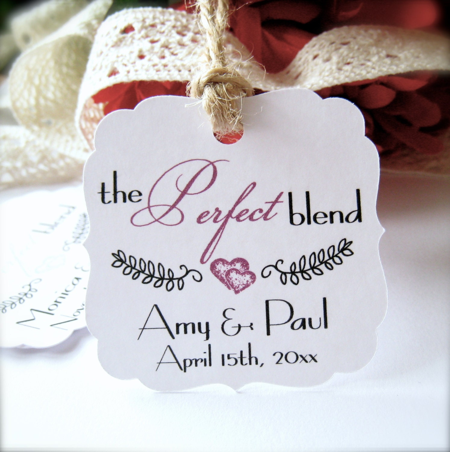 Wedding favor tags the Perfect Blend tag tea favor tags