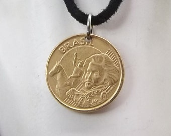 Brazil Coin Necklace, 10 Centavos, Coin Pendant, Leather Cord, Men's Necklace, Women's Necklace, 2004