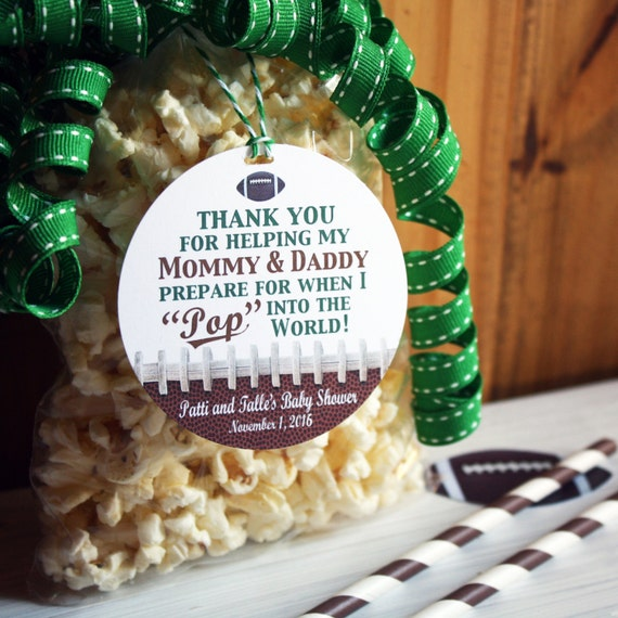 Football Baby Shower Party Favor Gift Tags Ready To Pop