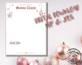 Santa letterhead etsy christmas letterhead custom letterhead digital download customized holiday letter santa claus spiritdancerdesigns Image collections