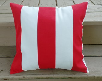 SALE Outdoor Pillow Cover, Red and White Stripe Pillow Cover, Toss Pillow Cover, Outdoor Fabric Pillow Cover, Porch Pillow Cover