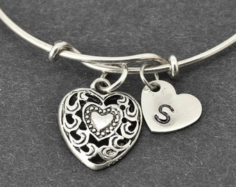 Heart Bangle, Sterling Silver Bangle, Heart Bracelet, Bridesmaid Gift, Personalized Bracelet, Charm Bangle, Initial Bracelet