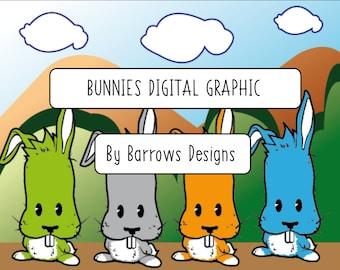 Rabbit Bunnies Digital Design Editable Scene