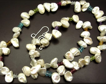 CLOUDBURST ~ Keishi Pearls, Gemstones Sterling  Necklace