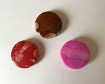 """Puck"" shape acrylic beads"