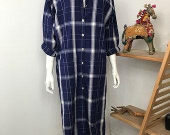 Vtg 70s navy blue plaid oversize sack dress caftan Liz Claiborne