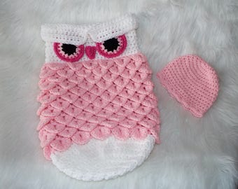 Photo Prop Newborn Crochet Pink/White Owl Cocoon & Hat READY TO SHIP