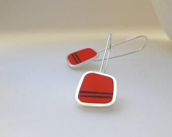 Orange Earrings - Long Orange Drop Earrings - Silver Jewellery- Striped Earrings - Birthday Gift for Mum - Graphico Long Drop Earrings