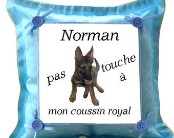 Blue cushion German Shepherd personalized with name