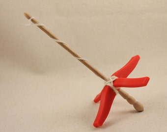 3D printed Glider Turkish Drop Spindle 4 3/4 inch arms 8 inches tall Red