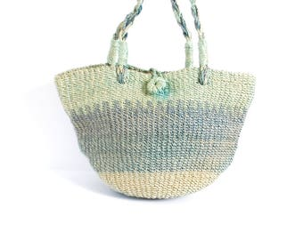 sisal STRIPE woven JUTE 70s TOTE bucket bag