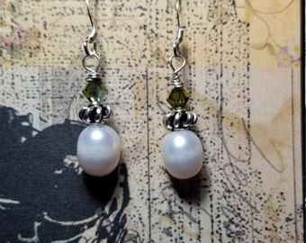 Genuine Pearls with green crystals and sterling silver beautiful bridal gift. Handmade