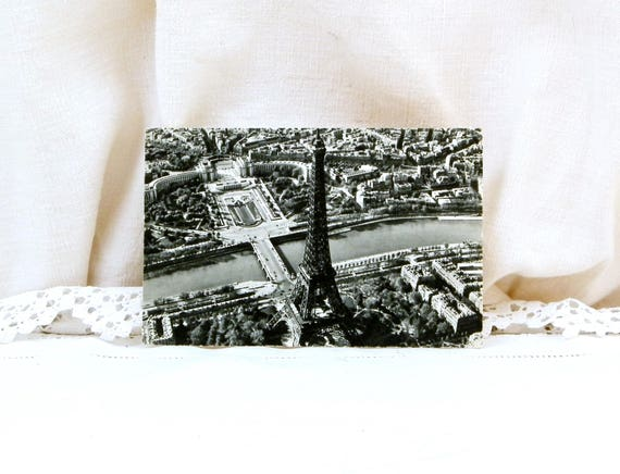 Vintage French 1950s French Black and White Aerial Postcard the Eiffel Tower in Paris, Promotional Gift from the Airline Company Air France