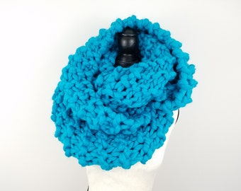 Super Chunky Knit Scarf Hand Knit Teal Infinity Scarf Giant Thick Cowl