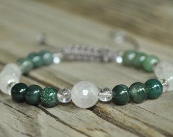 Rose Quartz and Moss Agate Healing Bracelet, Love Meditation Bracelet, Good Luck, Minimalist, Crystal Healing, Yoga Bracelet, Fertility