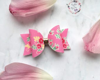 Spring Candy Pink Floral Bow Hair Accessory (headband or clip)