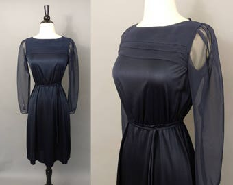 vintage navy blue secretary dress || late 70s early 80s fluid jersey day dress with sheer sleeves || extra small xs