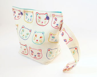 Cats project bag for knitting, small knitting bag, snap sock knitting bag, crochet project bag, one skein yarn storage