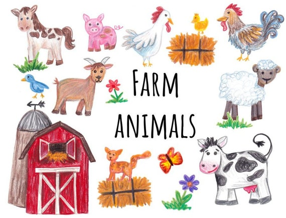hand drawn farm animals clipart farm clipart cow horse rh etsy com clipart farm animals free clipart farm animals free