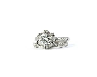 Flower diamond ring Etsy