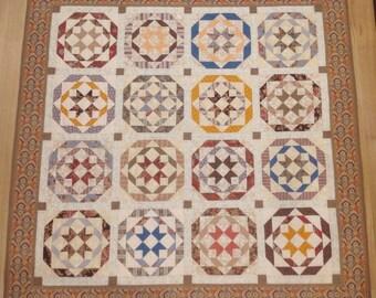 "Handmade Rosettes Quilt. 66"" x 66"""