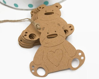 X24 Teddy bear gift tags craft labels baby shower party favor tags