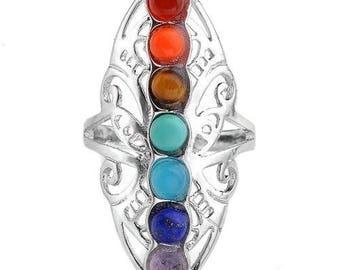 Long ring filigree silver plated - 7 chakras (adjustable size)